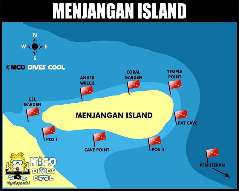 Carte des spots de plongée de Menjangan