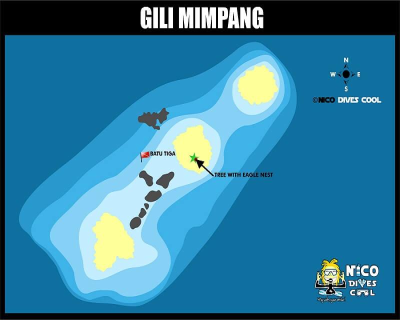 Carte des spots de plongée de Gili Mimpang