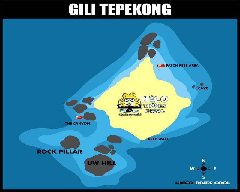 Carte des spots de plongée de Gili Tepekong