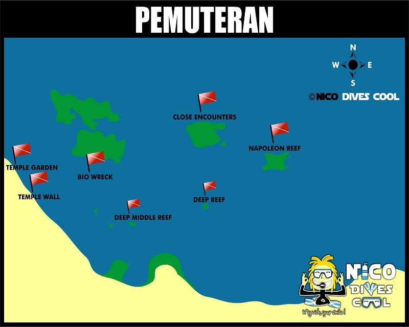 Carte des spots de plongée de Pemuteran
