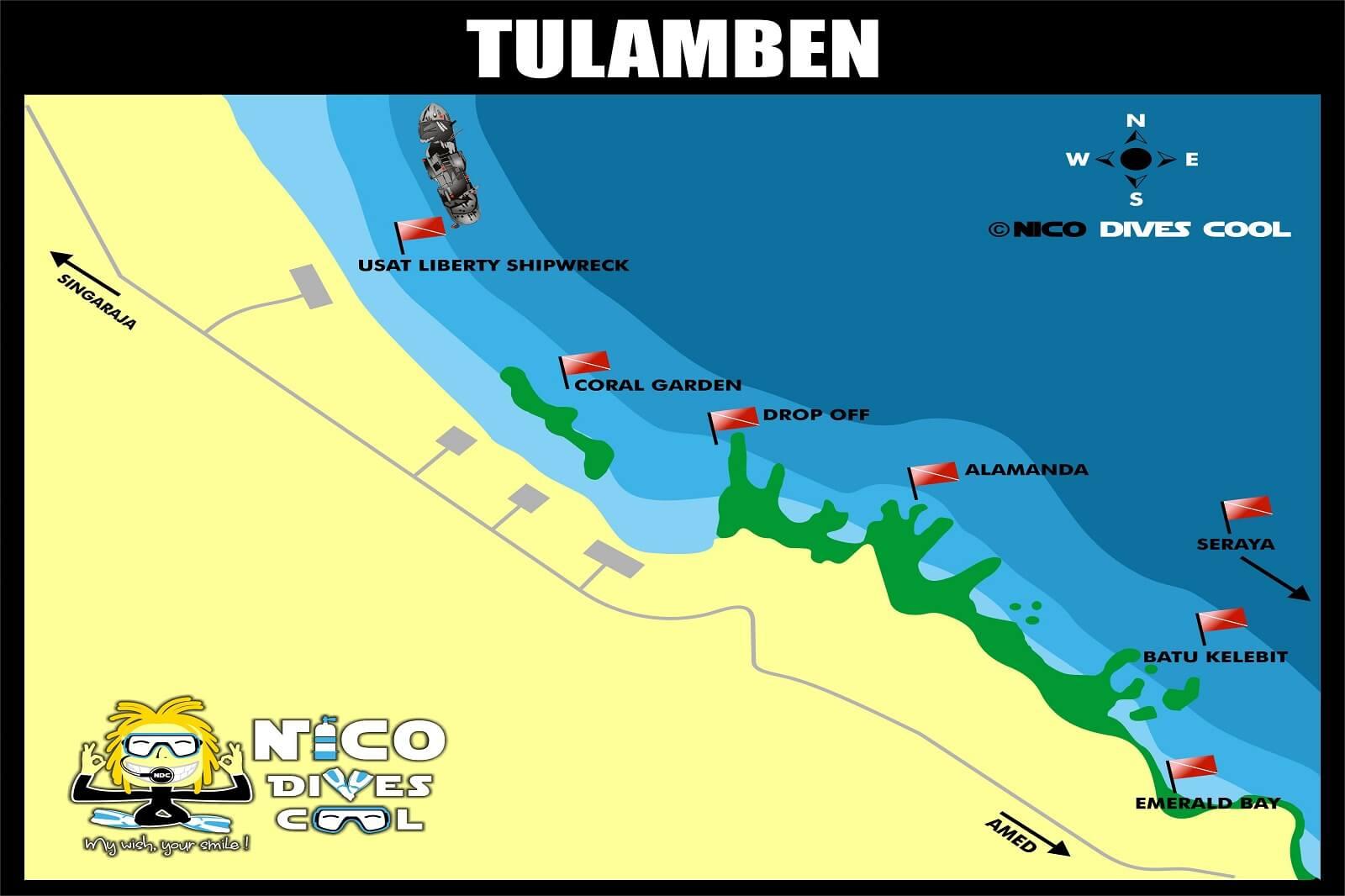 Carte des spots de plongée de Tulamben