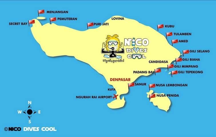 Carte des destinations de plongée à Bali